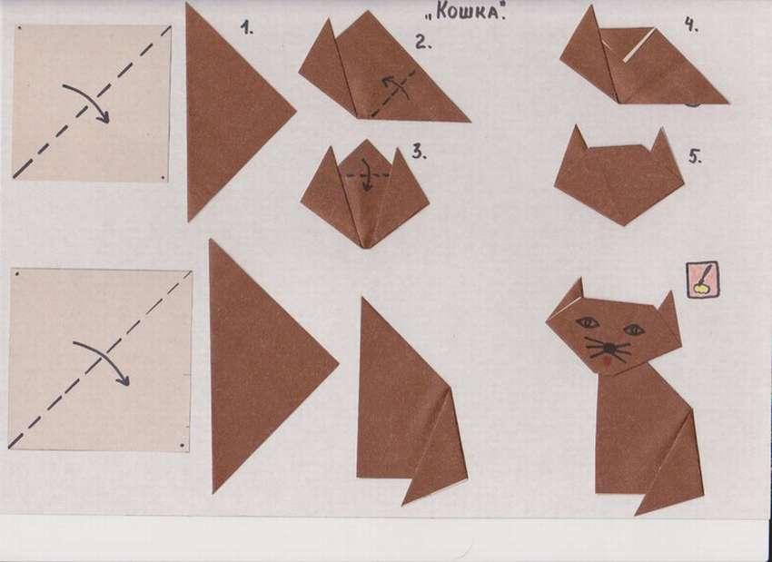 кот оригами картинка