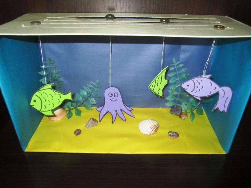 поделка аквариум с рыбками из коробки фотография, как это