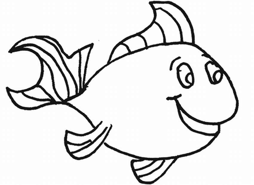 рыбка рисунок контур только
