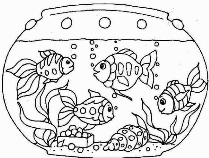 Картинка аквариум с рыбками для детей раскраска