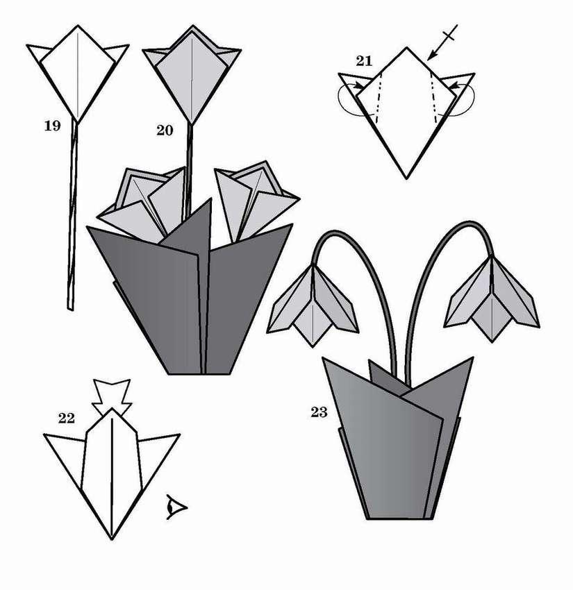 Цветы оригами из бумаги схемы картинки