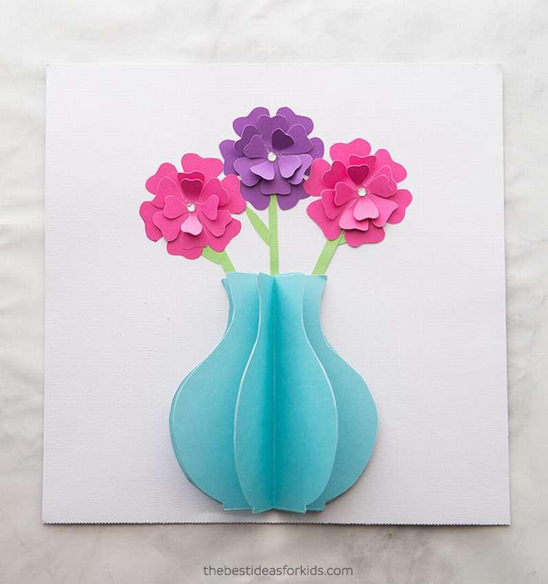 открытка с вазой и цветами из бумаги своими наш портрет проверяется