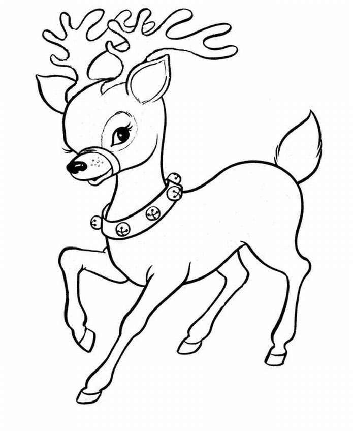 Раскраска оленей новогодних
