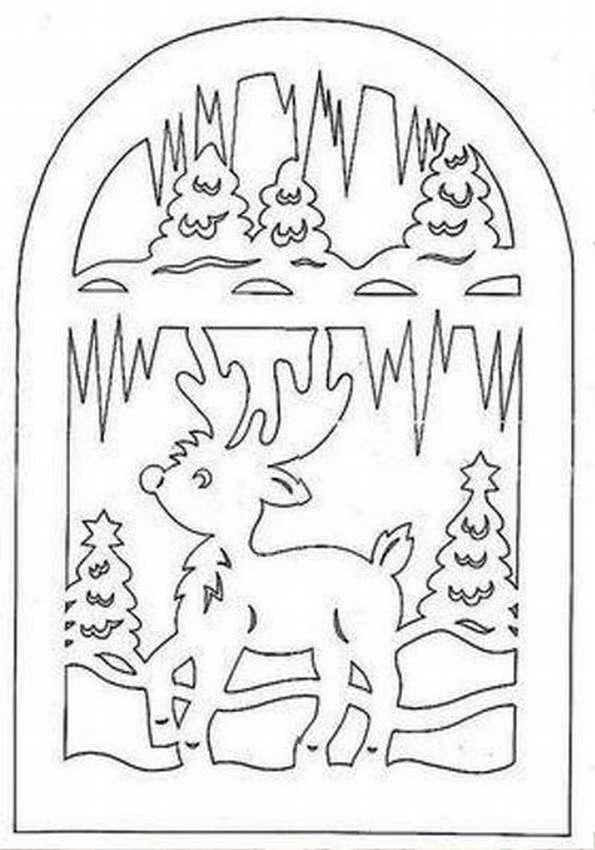 Трафареты зимних картинок на окна