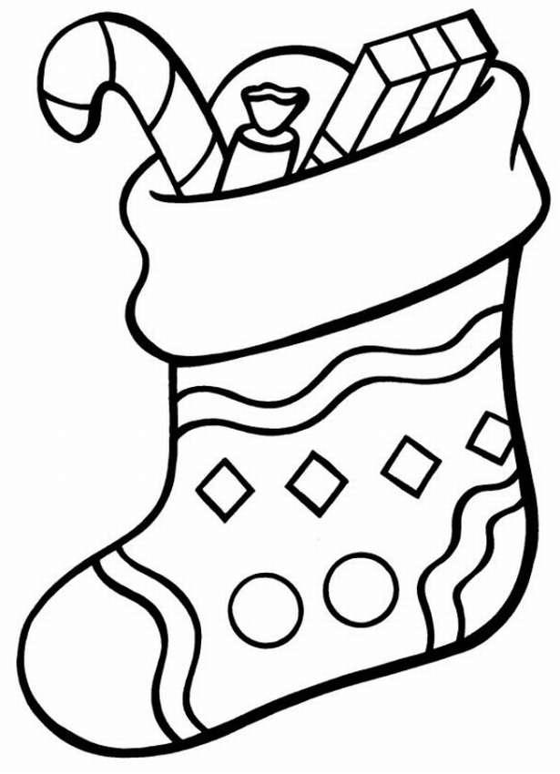 Раскраска носков на новый год