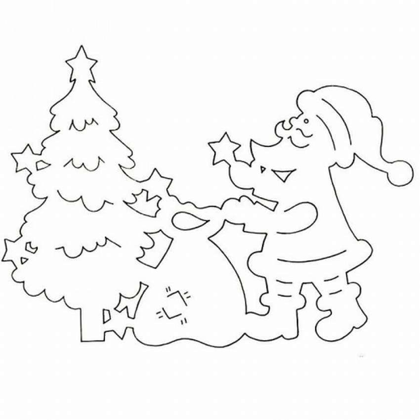 Картинки на окна из бумаги к новому году дед мороз