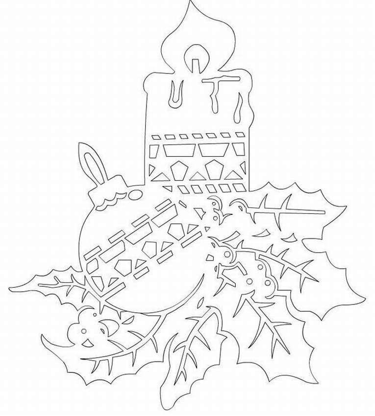 Новогодние раскраски картинки для украшения оконных рам