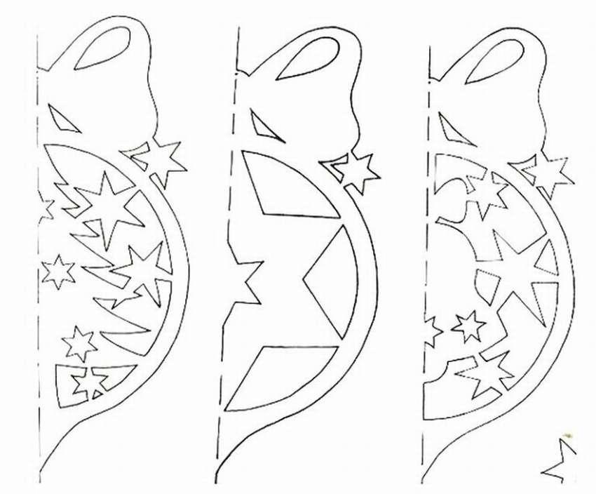 вырезать новогодние картинки из бумаги схемы шаблоны распечатать несколько примеров