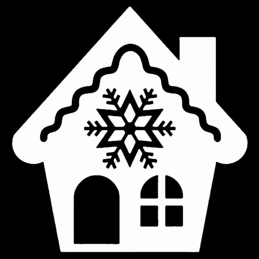 Новогодние дома картинки на окна