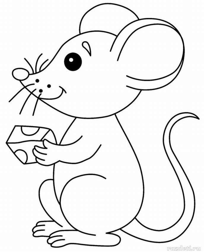 Картинки новогодней мышки для срисовки