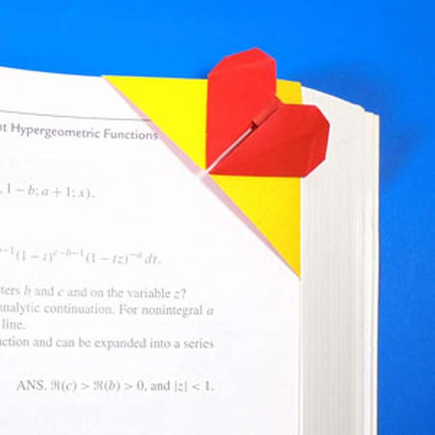 закладка для книг оригами сердечко
