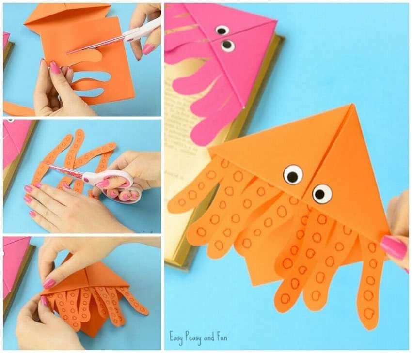 закладка из бумаги осьминог