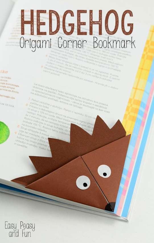 закладка оригами ежик