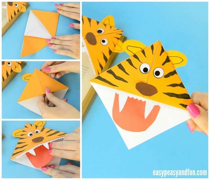 закладка оригами тигр