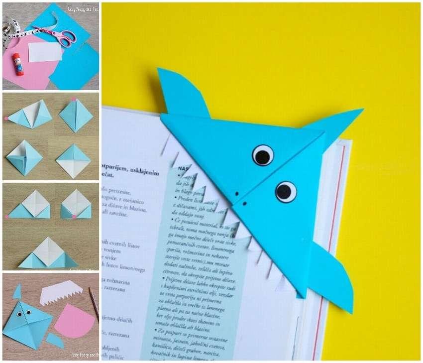 закладка из бумаги акула