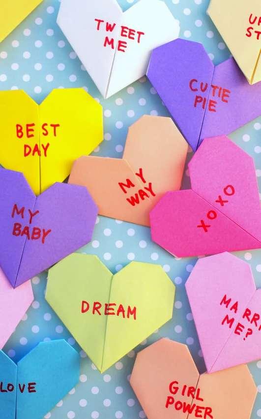 оригами закладка сердечко