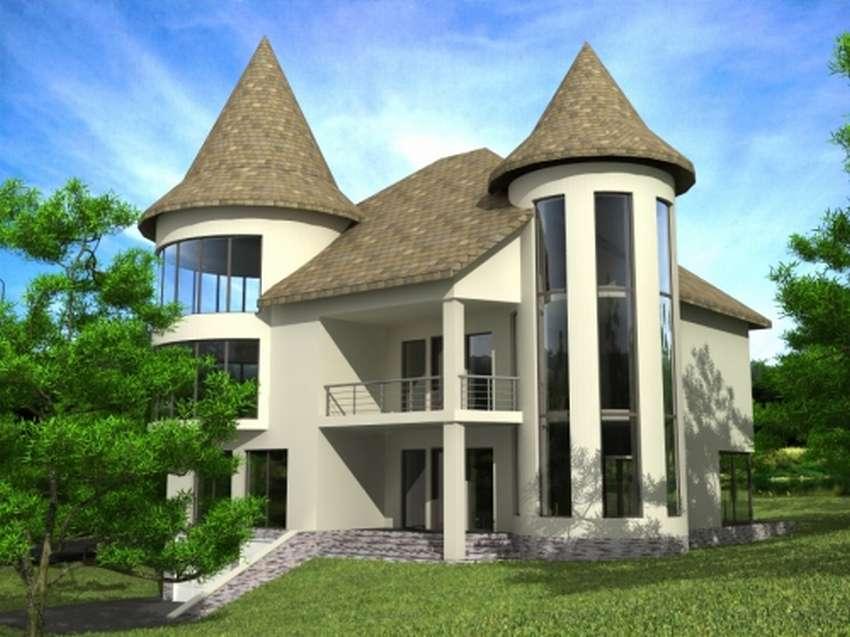 стоит двухэтажный дом с башнями фото этого потребуется