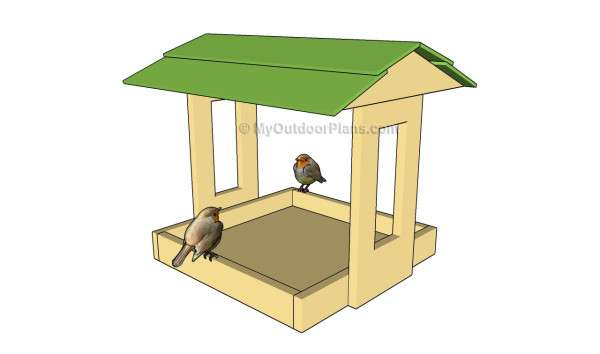 схема кормушки для птиц из фанеры