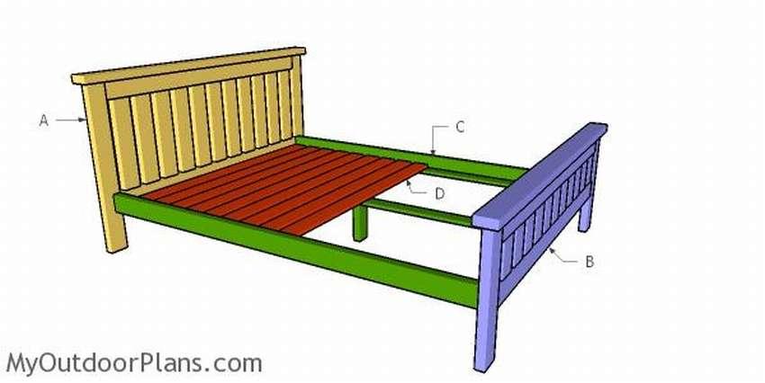 каркас двуспальной кровати чертеж