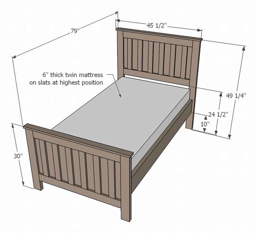 чертеж односпальной кровати своими руками