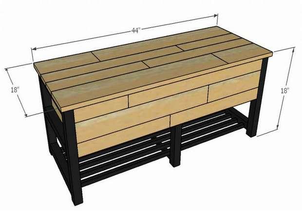 скамейка с ящиками для хранения