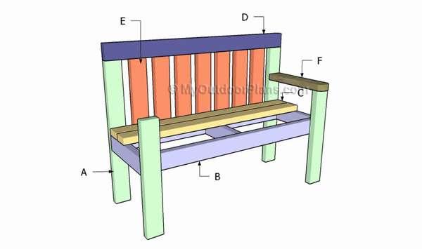 чертеж скамейки со спиинкой