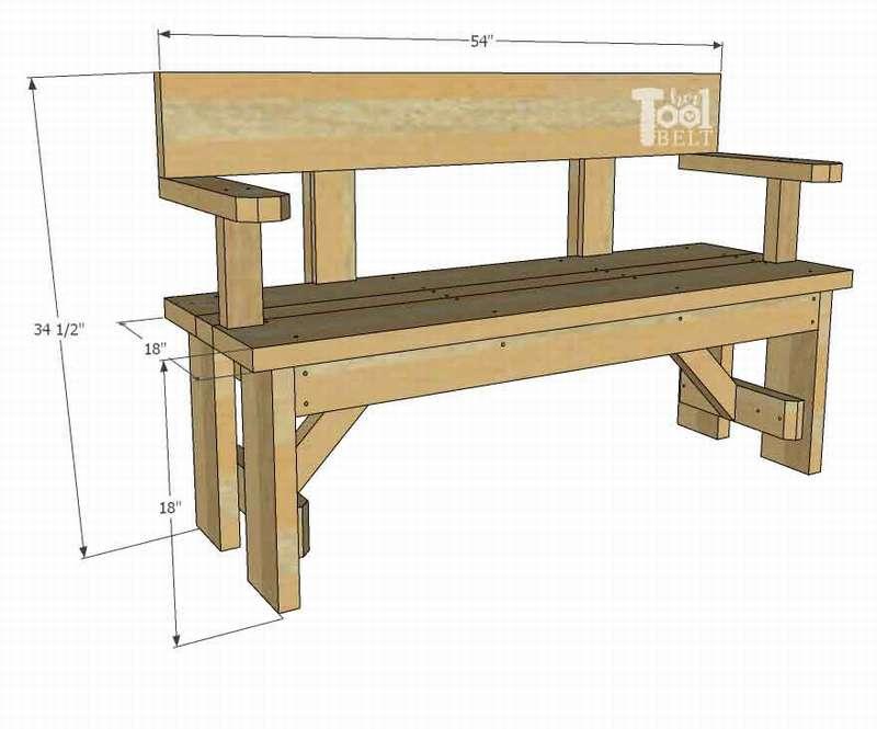 чертеж садовой скамейки со спинкой из дерева