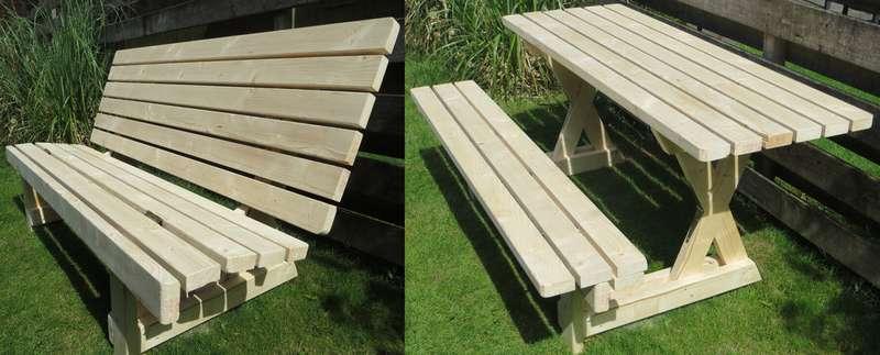 стол для пикника и скамейка