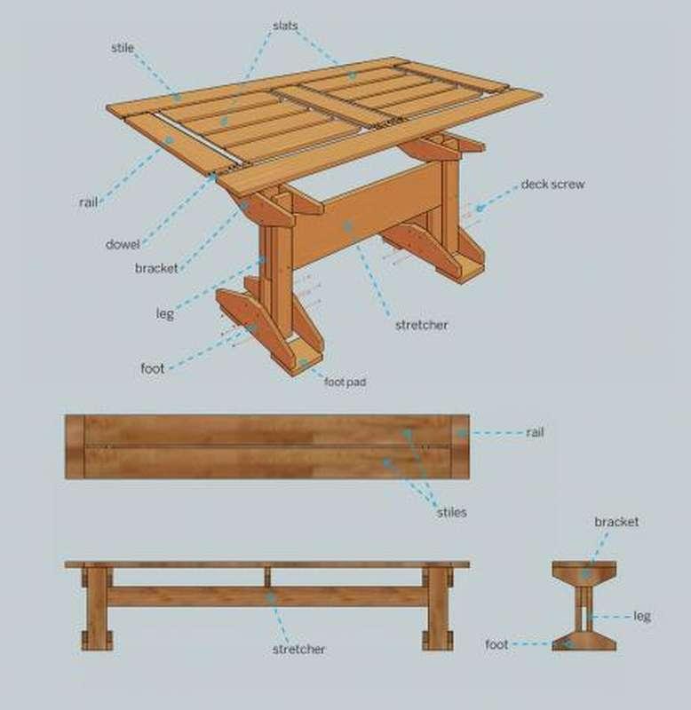 как сделать скамейки стол для дачи