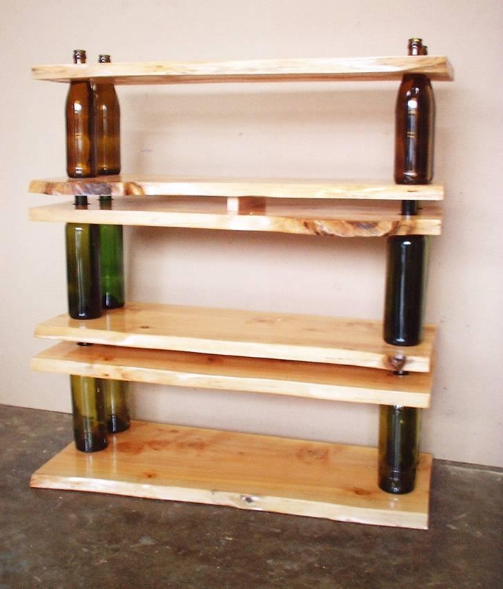 Полка из стеклянных бутылок на кухню своими руками мастер класс пошагово, стеллаж