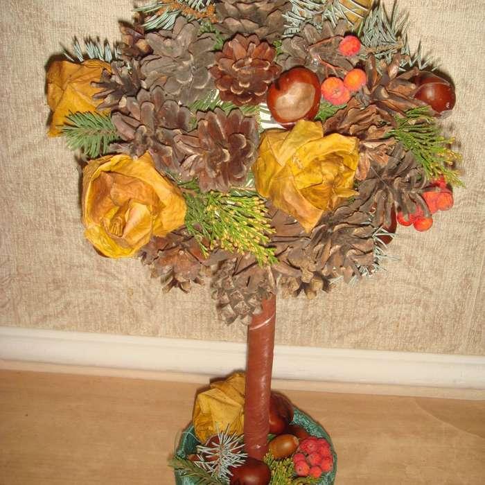 поделка дерево из природного материала на тему осень клещи, которых