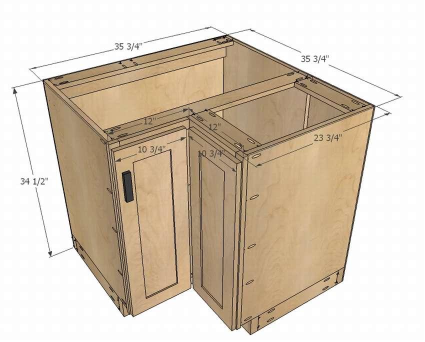 угловой кухонный шкаф чертеж