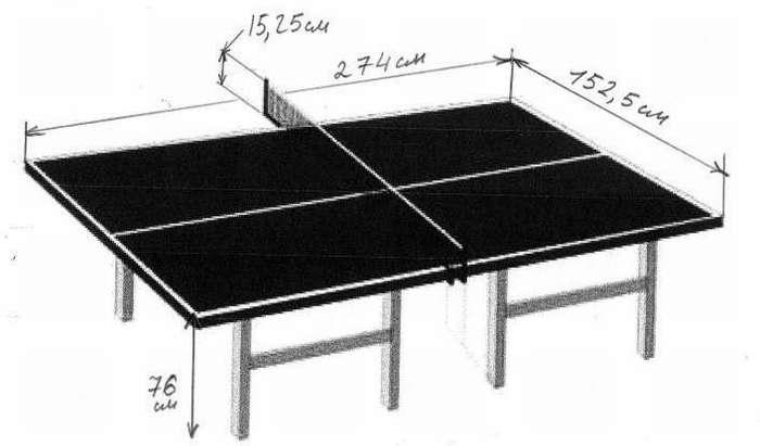 чертеж теннисного стола