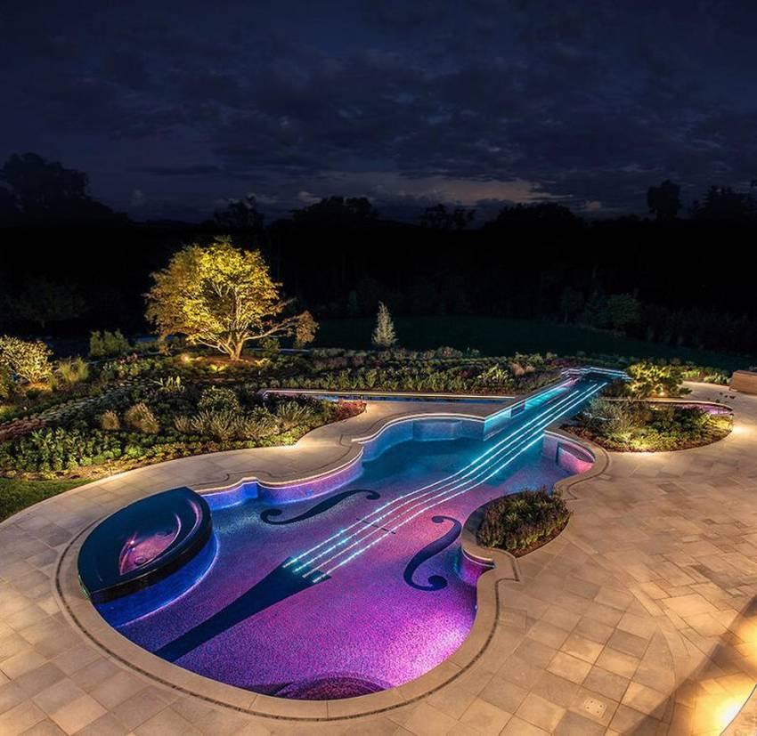 Бассейн в форме гитары