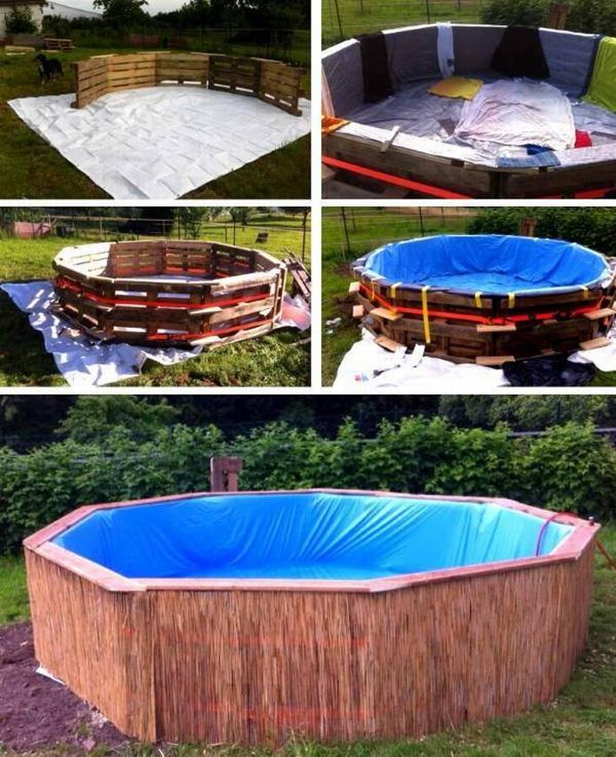 Каркасный бассейн из поддонов