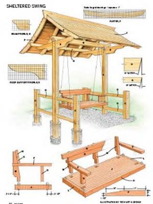 Схема и чертеж деревянных качелей