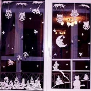 украшений на окна к Новому году трафареты шаблоны